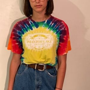 "oversize tie-dye graphic tee ""phantom lake"""